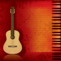 Music grunge background acoustic guitar and piano Royalty Free Stock Photo