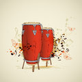 Music grunge background with red drums and notes Stock Photography