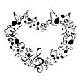 Music From Heart Sketch Vector...