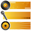 Music horizontal banners a collection of three with a vinyl record a microphone and a speaker on orange background eps file Stock Images