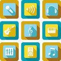Music icon design set and related icons Royalty Free Stock Photography
