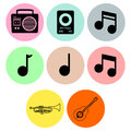 Music icon designs a set of for graphic element use Stock Photography