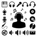 Music icon set illustration eps Royalty Free Stock Image