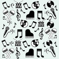 Music icons background over blue vector illustration Stock Images