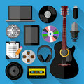 Music icons bundle flat design vector illustration Royalty Free Stock Photography