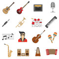 Music Icons Flat Royalty Free Stock Photo