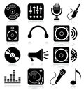 Music icons navigation icon set vector illustration of different web Stock Photos
