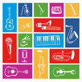 Music icons over colorful background vector illustration Stock Images