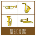 Music icons over cream background vector illustration Royalty Free Stock Photo