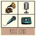 Music icons over vintage background vector illustration Stock Photography