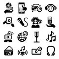 Music icons set elegant vector icon for web and mobile Stock Image
