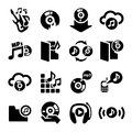 Music icons set elegant vector icon for web and mobile Stock Images