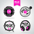 Music icons set of silhouettes of musical Royalty Free Stock Photo
