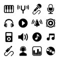 Music icons set on white background Royalty Free Stock Photo