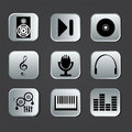 Music icons on squares with gradient effect Royalty Free Stock Photo