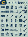 42 Music Icons Vector Set Royalty Free Stock Photo