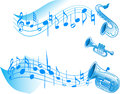 Music the illustration shows a number of wind instruments on a white background and abstract musical notes there is a place for Royalty Free Stock Photos