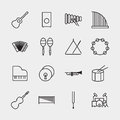 Music instrument icons outline vector illustration Royalty Free Stock Photo