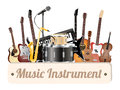 Music instrument wood board with electric acoustic guitar bass drum snare violin ukulele saxophone keyboard microphone and headpho Royalty Free Stock Photo