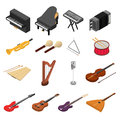Music Instruments Color Icons Set Isometric View. Vector