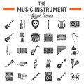 Music instruments glyph icon set, audio symbols