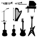 Music instruments set of black illustration Stock Image
