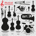Music instruments. Silhouette icons with reflection on transparent background