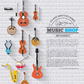 Music instruments on white modern brick wall concept. Icons design for your product or design, web and mobile