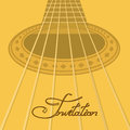 Music invitation with acoustic guitar closeup Royalty Free Stock Photos