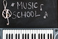 Music keyboard on blackboard background for music school childre Royalty Free Stock Photo