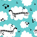 Music kitty seamless pattern Royalty Free Stock Image