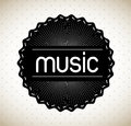 Music label over dotted background vector illustration Stock Image