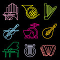 Music lines icons set of musical instrumen from the luminous Stock Photo
