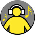 Music logo vector illustration of man listening Stock Photography