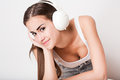 Music lover loving young brunette beauty wearing headphones Stock Photo