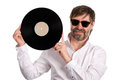 Music lover with an old vinyl disc Royalty Free Stock Photo