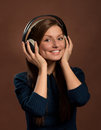 Music lover. Smiling woman in headphones Royalty Free Stock Photo