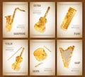 Music magazine layout flyer invitation saxophone violin piano drums guitar harp triangular design. Vector musical
