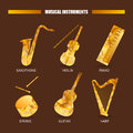Music magazine object saxophone, drums, violin, piano, harp, guitar. Vector musical ornament illustration concept. Royalty Free Stock Photo