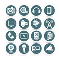 Music and media icons round buttons set of electronics Royalty Free Stock Photos
