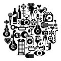 Music and movie isolated round vector illustration black on white background circle background Stock Image