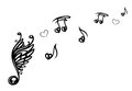 Music music note big with wings notes with love Stock Image