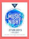 Music Night flyer, template or banner. Royalty Free Stock Photo