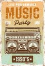 Music nineties party vintage poster with boombox Royalty Free Stock Photo