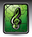 Music note on green cracked web button Stock Image
