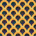 Music note half circle golden song seamless pattern