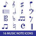 Music note icon set eps blue Stock Images