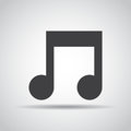 Music note icon with shadow on a gray background. Vector illustration