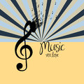 Music note over grunge background vector illustration Royalty Free Stock Photo