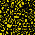 Music note pattern eps black and yellow Stock Photo